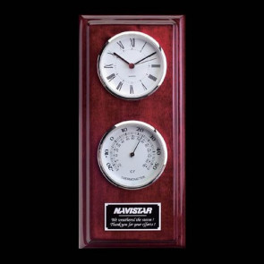 Simmons Clock Thermometer Rosewood Chrome