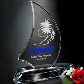 Sailboat Optical Crystal Award 8 in.