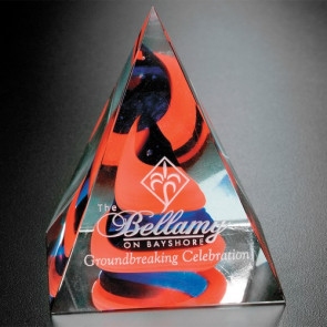 Swirl Pyramid - Art Glass Award Red/Blue 4 in.
