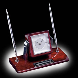 Eggleton Clock/Pen Set - Rosewood/Chrome