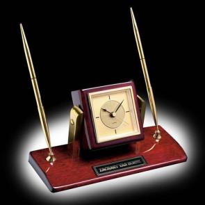 Eggleton Clock/Pen Set - Rosewood/Gold