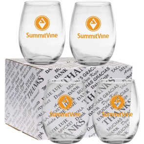 15 oz. Stemless Wine Glass Thank You Set