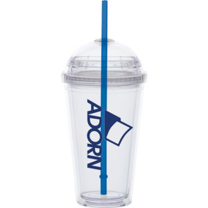 Dome Lid Carnival Cup- Clear Lid, Color Straw