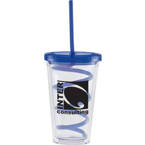 Carnival Cups-Color Curly Straw, Color Lid