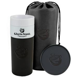 Alta Porcelain Tumbler w/ Blk Leatherette Bag - Coaster Gift Set