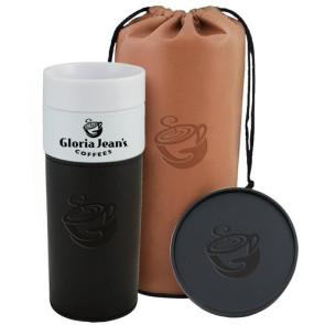 Alta Porcelain Tumbler w/Brn Leatherette Bag - Coaster Gift Set