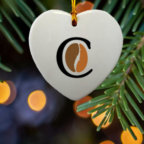 Heart Shape Ceramic Ornament with Imprint