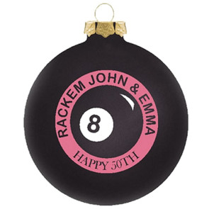 Customized Glass Christmas Ornaments Black