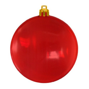 USA Made Christmas Ornament Flat Shatterproof- Translucent Red
