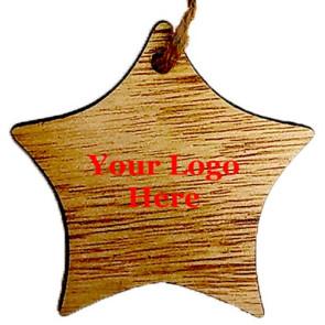 Rustic Wooden Star Shape Ornament - Screen Print