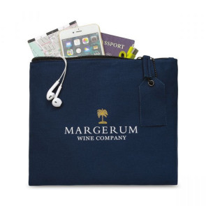 Avery Large Cotton Zippered Pouch - Navy