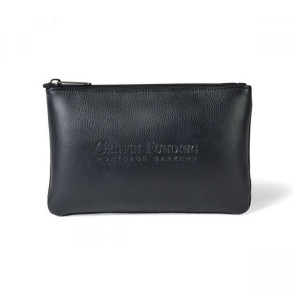 Travis & Wells Leather Zippered Pouch Black