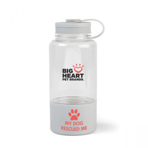 Fido Tritan Bottle with Pet Water Bowl - 34 oz. Quiet Grey