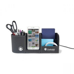 Truman Wireless Charging Desk Organizer Black