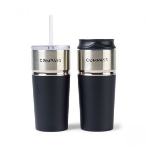 Emery 2-in-1 Double Wall Stainless Tumbler - 16 Oz. Matte Black