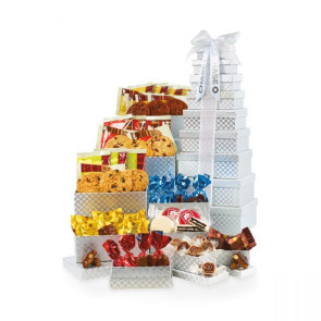 Ultimate Gourmet Tower of Individually Wrapped Treats - 48 pc - Silver Diamond Pattern