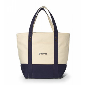 Seaside Zippered Cotton Tote Navy Blue