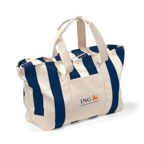Large Striped Canvas Tote Bag - Navy