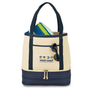 Coastal Cotton Insulated Tote - Navy Blue/Natural