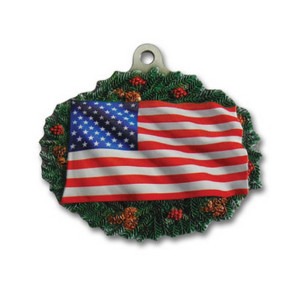 3D Gallery Print Collection American Flag/Wreath Mini Ornament