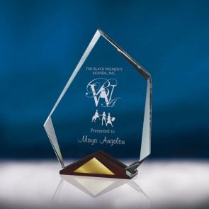 Crystal Summit Award  - SM With Cherry Wood Base