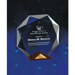 Crystal Octavia Award With Solid Cherry Wood Base  - LG