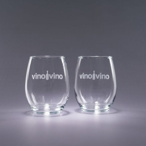 17oz. Trendsetter Engraved Stemless White Wine Glasses - Traveler S/2
