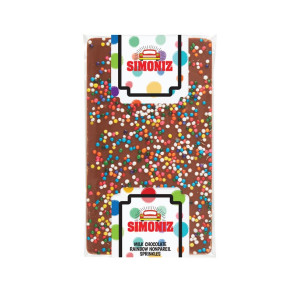 1 oz Belgian Chocolate Bar with Rainbow Nonpareil Sprinkles