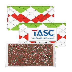 3.5 oz Executive Custom Chocolate Bar with Holiday Nonpareils