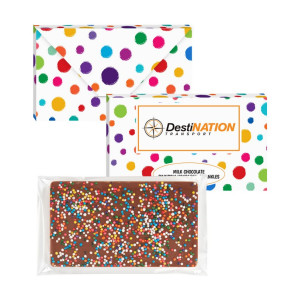 1 oz Executive Custom Chocolate Bar with Rainbow Nonpareil