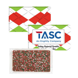 1 oz Executive Custom Chocolate Bar with Holiday Nonpareil