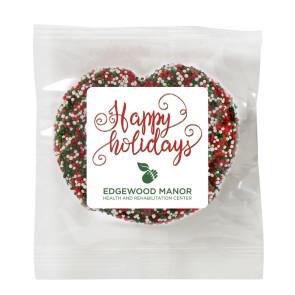 Milk Chocolate Covered Pretzel - Holiday Nonpareil Sprinkles