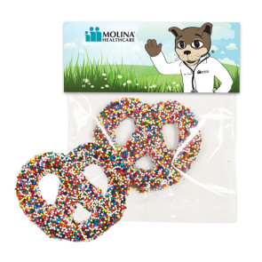 Chocolate Covered Pretzel Header Bag - Rainbow Nonpareil Sprinkle