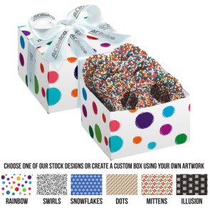 Gala Gift Box - 4 Chocolate Covered Pretzel Knots with Rainbow