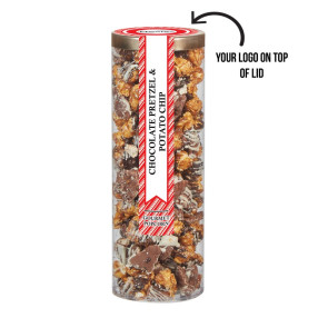 Executive Popcorn Tube - Chocolate Pretzel & Potato Chip Popcorn