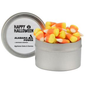 Candy Cauldron Tin with Candy Corn