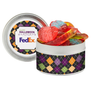 Candy Cauldron Tin with Witches Brew Gummy Mix