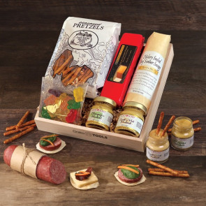 Savory Sampler of Cheese, Sausage and Pretzels in Wooden Tray
