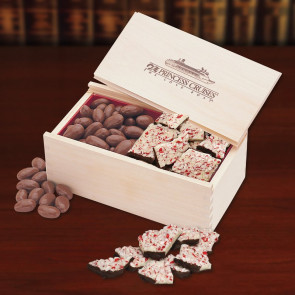 Peppermint Bark and Chocolate Almonds in Wooden Collector's Box