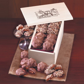 English Butter Toffee and Pecan Turtles in Wooden Collector's Box