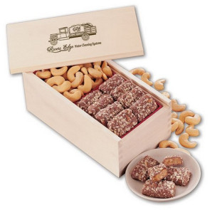 Toffee and Jumbo Cashews in Wooden Collector's Box