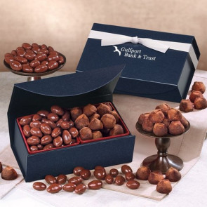 Milk Chocolate Almonds and Cocoa Dusted Truffles in Navy Magnetic Closure Box