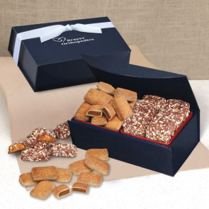 Cinnamon Churro Toffee & English Butter Toffee in Navy Magnetic Closure Box
