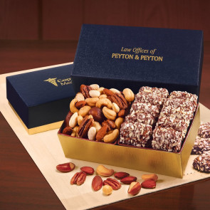 English Butter Toffee & Deluxe Mixed Nuts in Navy & Gold Gift Box
