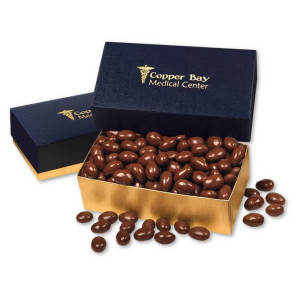 Chocolate Covered Almonds in Navy and Gold Gift Box
