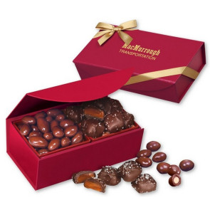 Chocolate Almonds and Sea Salt Caramels in Red Magnetic Box