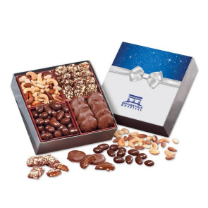 Gourmet Holiday Gift Box with Bow Sleeve with Chocolates and Nuts
