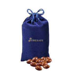 Chocolate Covered Almonds in Blue Velour Gift Bag