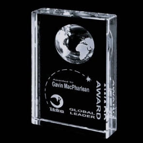 Ambassador Globe Award - Optical Crystal 6 in.x8 in.
