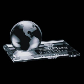 Globe Paperweight on Starfire Base - 4 in. Diam
